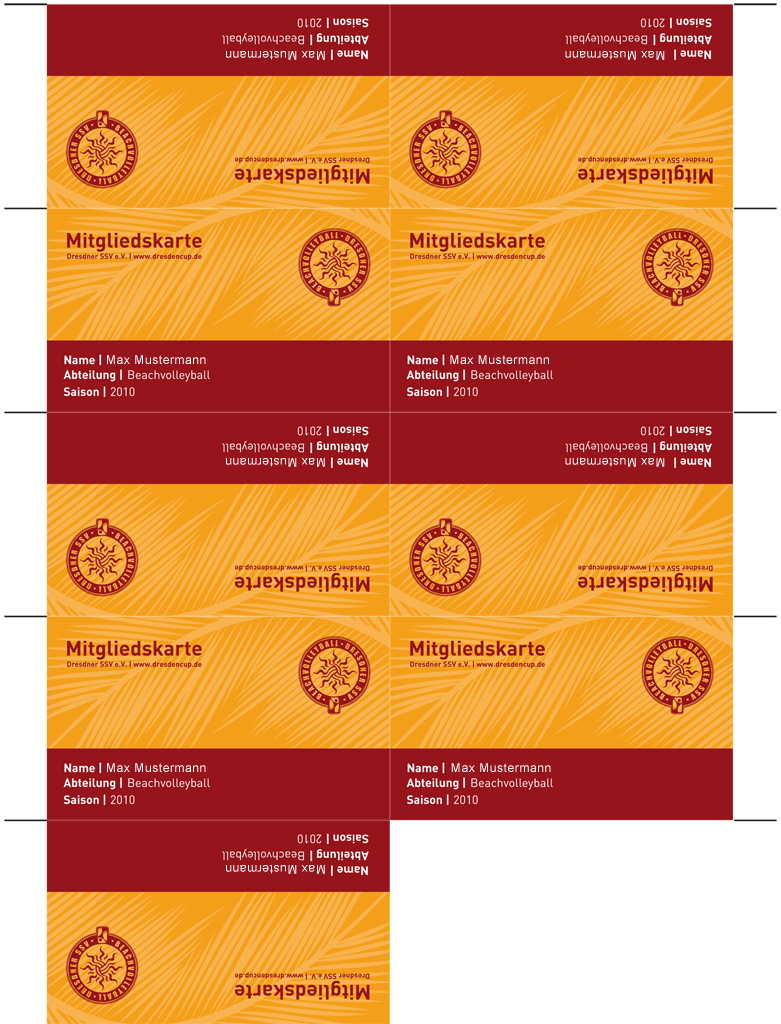 Dresdner SSV - Mitgliedskarten mit Schnittmarken