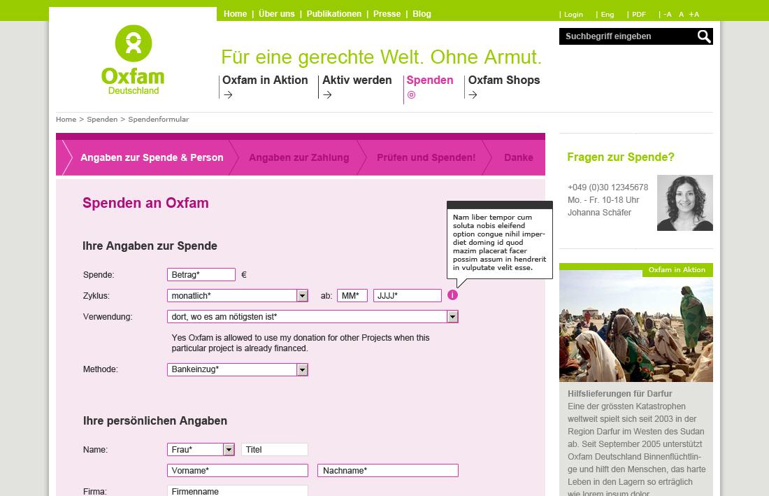 Oxfam - Spendenformular