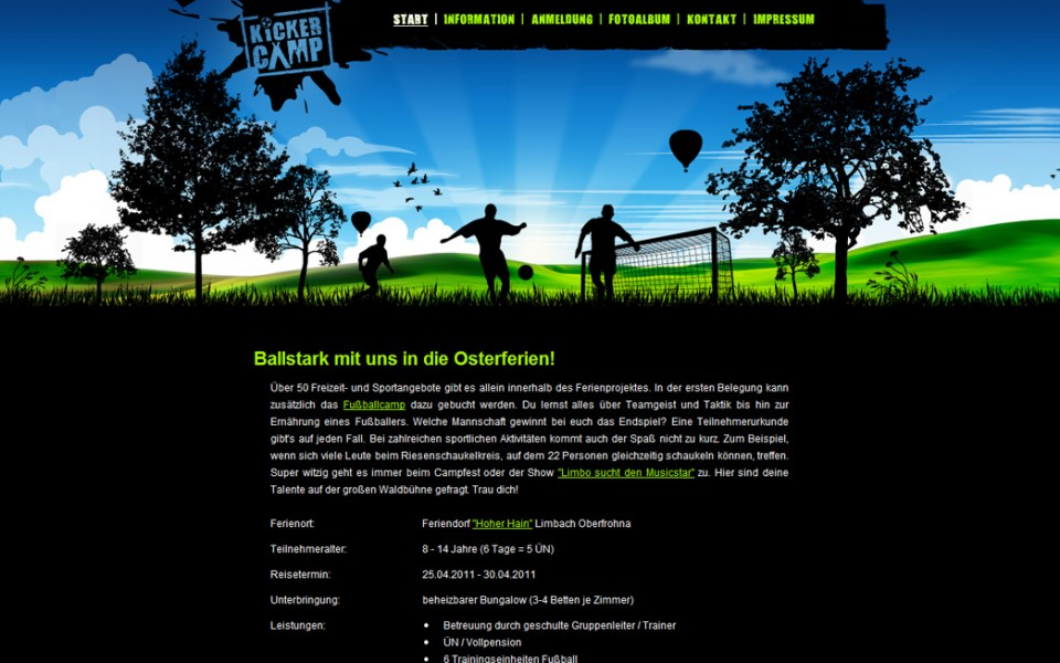 Kickercamp - Homepage