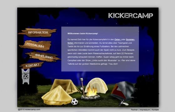 Kickercamp - Neues Design der Startseite von Jessica Nierth