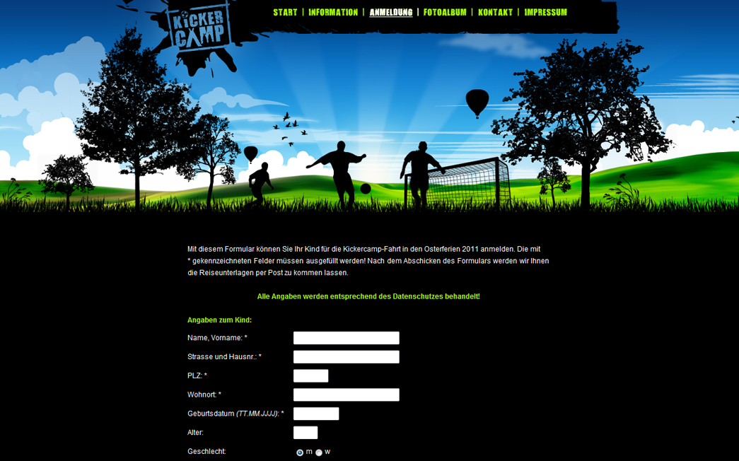 Kickercamp - Neues Design - Teilnahmeformular