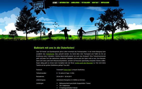 Kickercamp - New design of the homepage made by Alexander Flämig