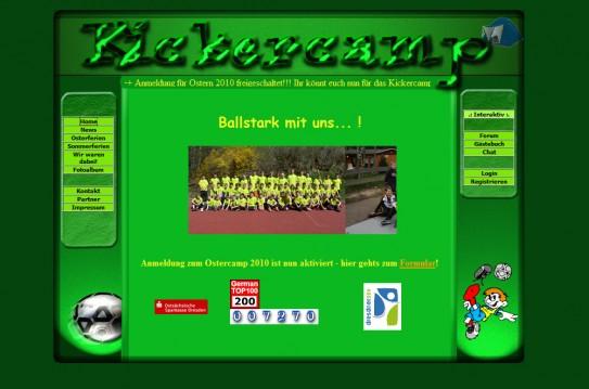Kickercamp - Ursprüngliches Design der Startseite