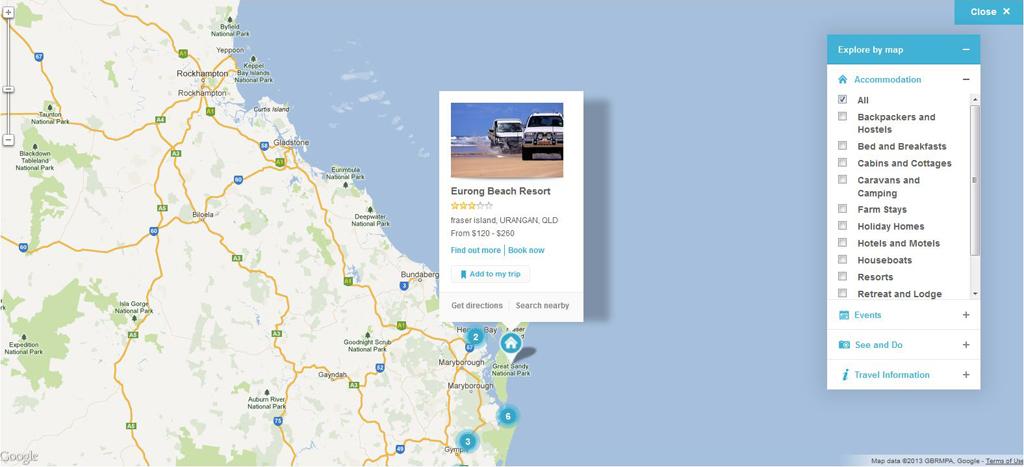 Sunshine Coast - Konsumenten Seite - Google Map Marker Detail-Ansicht