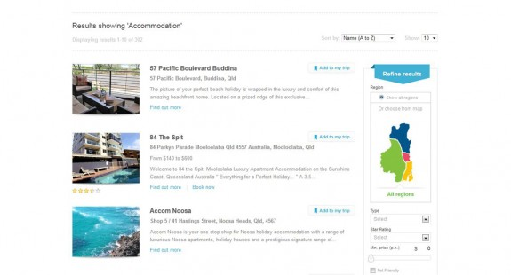 Sunshine Coast - Consumer site - Search for accomodation