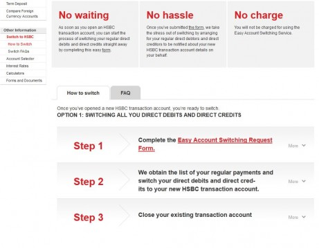 HSBC - Switching accordion menu