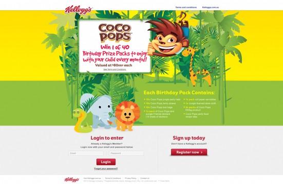 Coco Pops - Login Seite