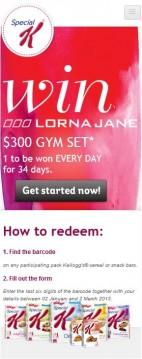 Lorna Jane - Homepage on mobile