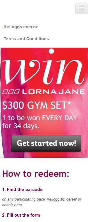 Lorna Jane - Mobiles Engerät 320px Breite - Hauptmenü geöffnet