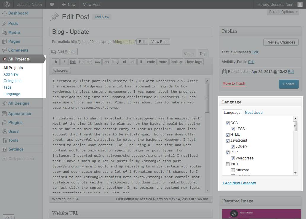 Jessica Nierth - Version 2.0 - Backend mit custom post types 'Project' und Taxonomie 'Sprache'