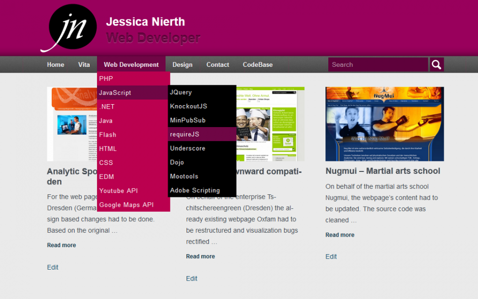 Jessica Nierth - Version 2.0 - First design of the blog