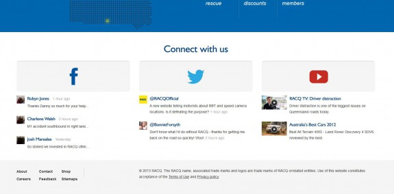 Racq - View of supported social networks on desktop