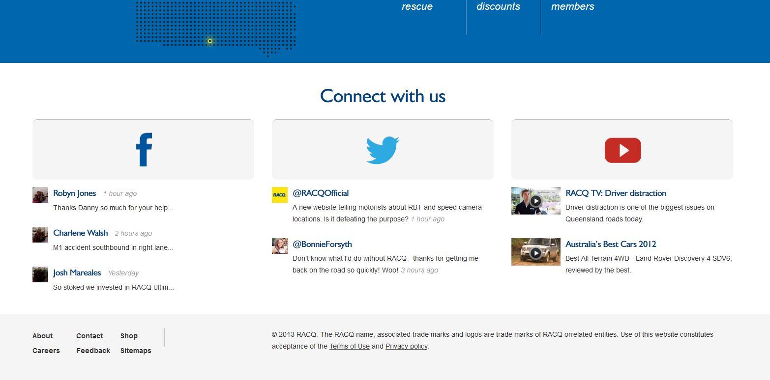 Racq - Ansicht der Liste Sozialer Netze auf mobilen Desktop-Geräten