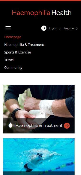 Haemophilia - Menü-Ansicht auf mobilen Endgeräten