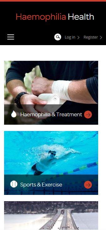 Haemophilia - Kategorie-Seiten-Ansicht auf mobilen End-Geräten
